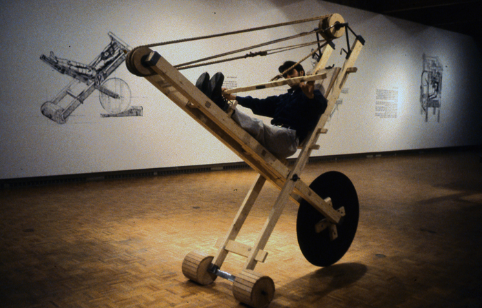 """Beauty of Our Pain"" is the installation composed of reconstructed fitness machines which would not have looked out of place in the Middle Ages. They represent fitness and the act of confession; the extraction of beauty through pain."